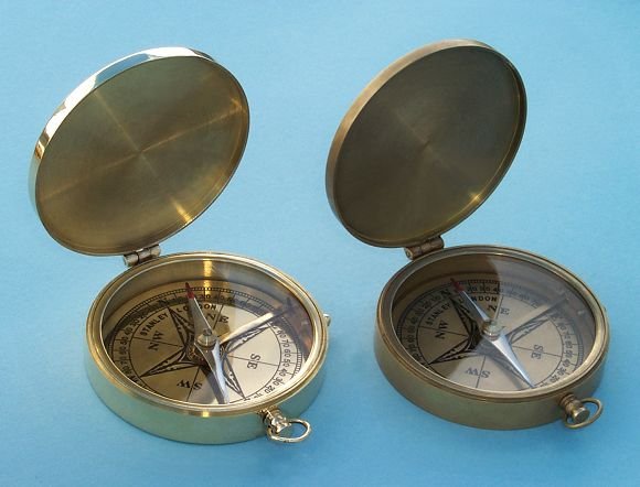 Large Brass Pocket Compasses