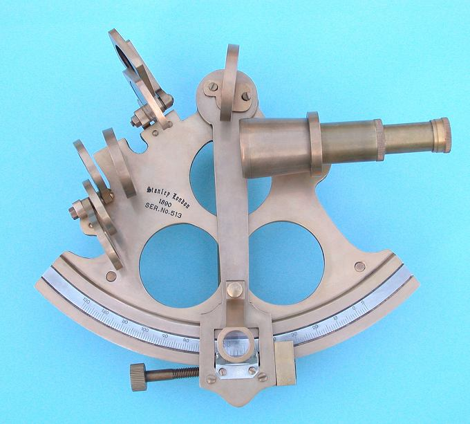 6-inch Serialized Brass Sextant with Antique Patina