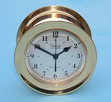 Ship's Bell Clock in Clear Coated Polished Brass Case