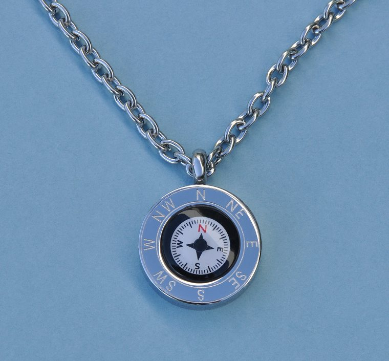 Cardinal Points Stainless Steel Working Compass Pendant with Chain