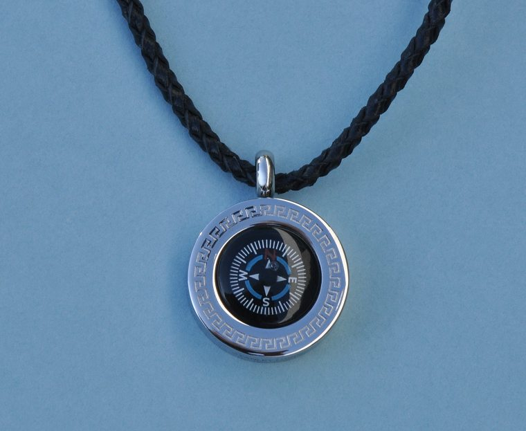 Greek Stainless Steel Working Compass Pendant with Leather Necklace