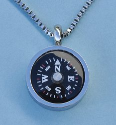 Stainless Steel Thin Bezel Compass Pendant