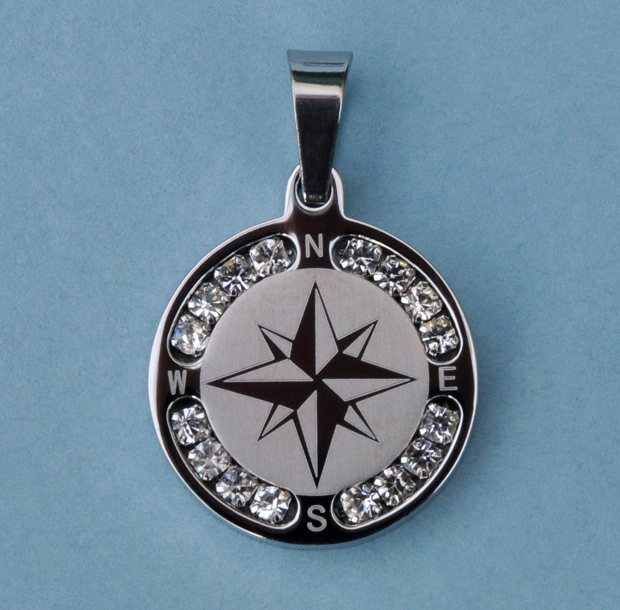 Stainless Steel Compass Rose Pendant with Rhinestones