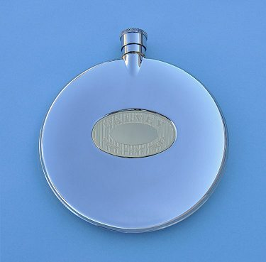 Front View of Grants of Dalvey Classic Stainless Steel Flask with Stainless Gold Badge