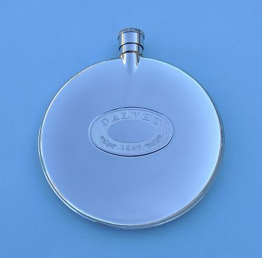 Front View of Grants of Dalvey Classic Stainless Steel Flask with Stainless Steel Badge