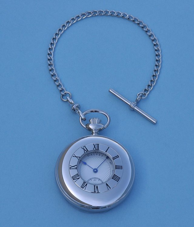 Dalvey Half Hunter Stainless Steel Pocket Watch and Chain 421