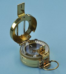 Francis Barker Tritium Brass M73 Mil-Spec Prismatic Presentation Compass with Military Pouch