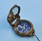 Stanley London Antique Brass Finish Luminescent Pocket Compass with Bezel Rotated