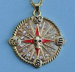 Detail of Pirate Skull Compass Rose Pendant with Rhinestones