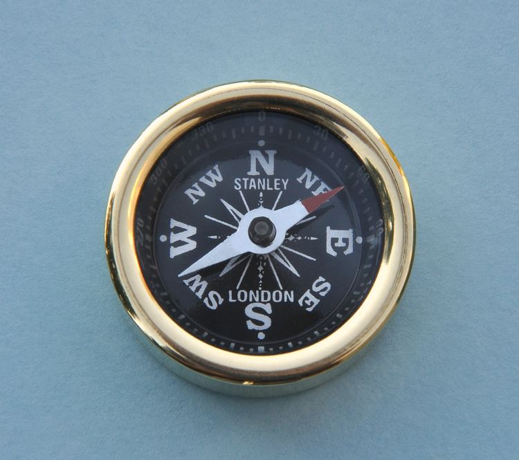 Stanley London Solid Brass Plain Smooth Pocket Compass