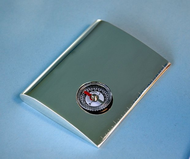 Silver Plated Airfoil Compass Paperweight Ruler