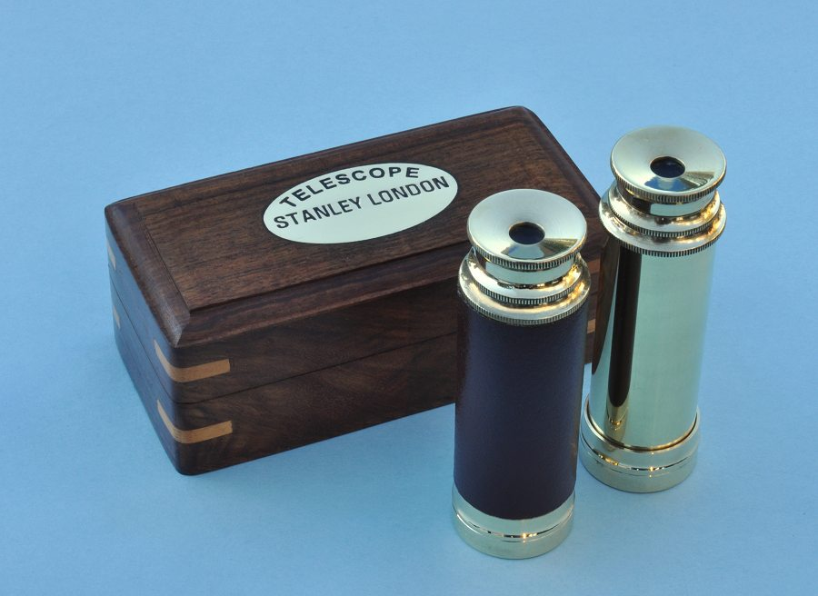 Brass Handheld 7-inch Spyglass Telescopes with Hardwood Case