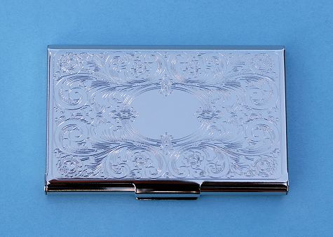 Embossed Scroll Silver Plated Business Card Case