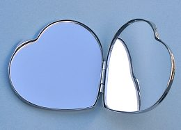 Heart Shaped Nickel Plated Compact Mirror