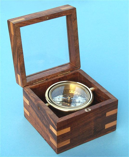 Small Boxed Compass with Beveled Glass Top