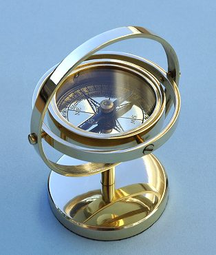 Small Gimbaled Desk Stand Compass