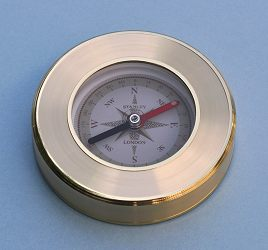 Liquid Damped Luminescent Paperweight Compass