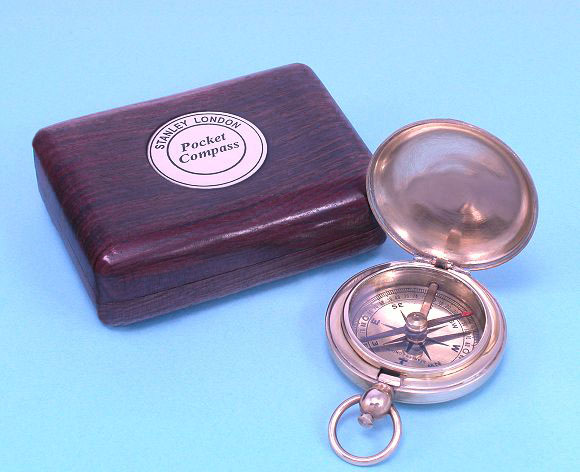 World War I Pocket Compass Reproduction with Hardwood Gift Box