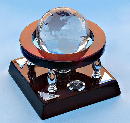 Mahogany Desk Clock with Crystal Globe