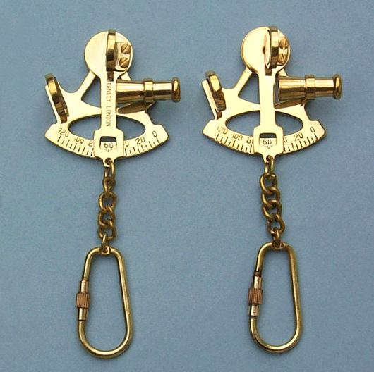 Solid Brass Sextant Key Chains