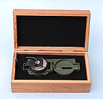 Lensatic Compass in Optional Hardwood Case
