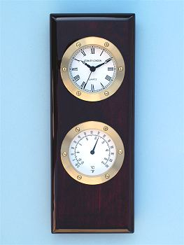 Stanley London Piano Finish Clock and Thermometer Plaque