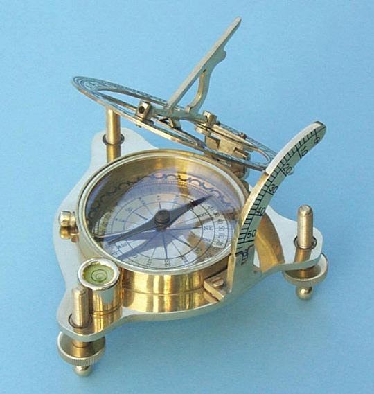 Brass Sundial with Magnetic Compass