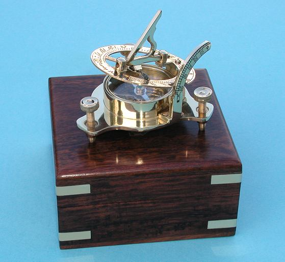 Brass Sundial with Magnetic Compass and Hardwood Case