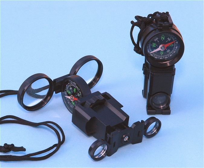 Compact Folding Survival Binoculars with Compass and Signal Mirror