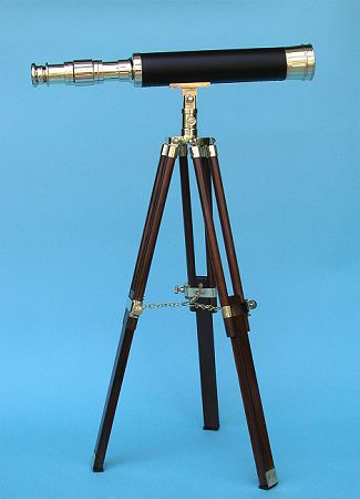 19-inch Leather Sheathed Brass Telescope on a Stand