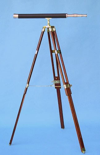 Stanley London 30-inch Leather Sheathed Brass Telescope on Solid Hardwood Tripod