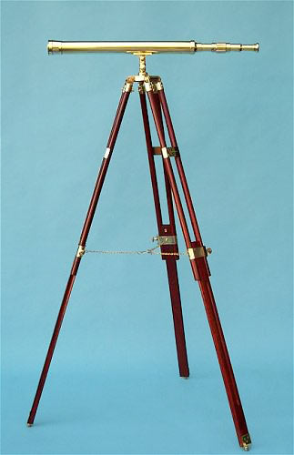Stanley London 30-inch Polished Brass Telescope on Solid Hardwood Tripod